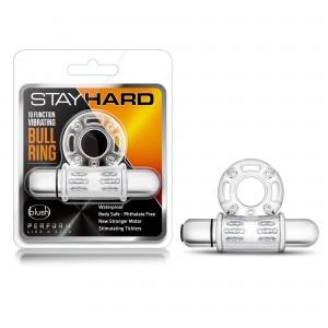 STAY HARD - 10 FUNCTION VIBRATING MEGA BULL RING - CLEAR